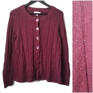 ⚡ Christopher & Banks womans cable knit cardigan